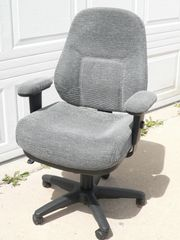 Grey Variegated Fabric Office Chair w/ Padded Armrests