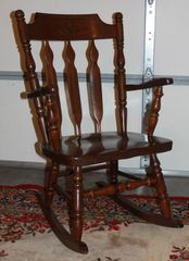 Solid Oak Dark Wood Rocking Chair