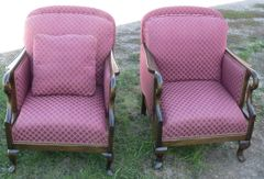 Mauve Color Upholstered Arm Chairs