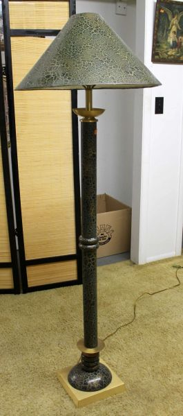 Green and Brass Floor Lamp