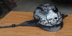 RDX 1/2 Half Helmet w/ Skull and Flame Design-Medium