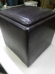 "13"" Cube LEATHER FOOTSTOOL Hassock Storage"