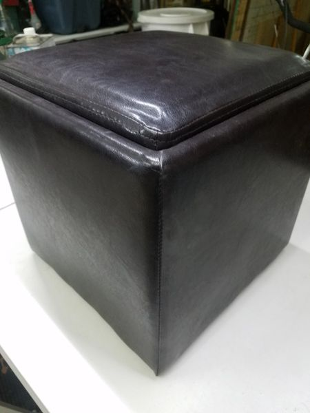 """13"""" Cube LEATHER FOOTSTOOL Hassock Storage"""