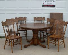 Antique Round Claw Foot Dining Table w/ 6 Chairs