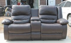 Double Recliner Dark Brown Loveseat / Couch w/ Center Console