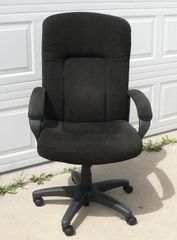 Black Fabric Hi-Back Office Chair w/ Padded Armrests