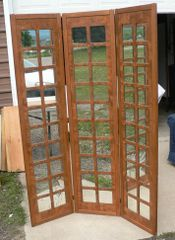 3 Section Wood and Mirrors Room Divider