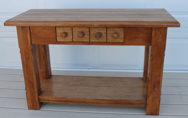 Oak Long Sofa Table w/ 1 Drawer