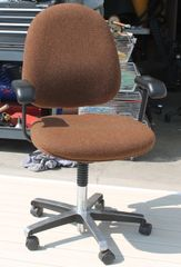 Brown Office Desk Chair w/ Arms-Fabric and Metal