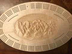 Mountain Scene Cribbage Board 4-Track