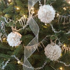 Fabric Rag Ball Vintage Christmas Tree Ornament Set