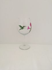 Ruby Throat Hummingbird Red Wine Glass