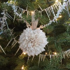 Fabric Rag Ball Vintage Christmas Tree Ornament