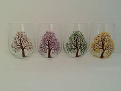Four Seasons Trees, Painted Stemless Glasses