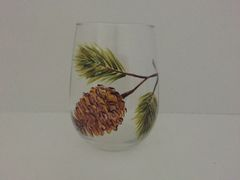 Pine Cone, Painted Wine Glass