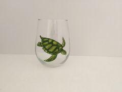 Sea Turtle, Painted Wine Glass, Stemless