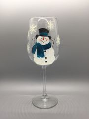 Snowman with Blue Scarf and Snowflakes