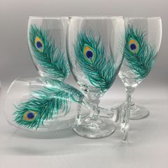 Painted Peacock Feather Goblet Set