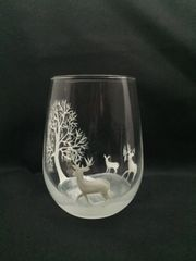 Snowy Landscape, Tree with Deer