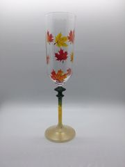 Autumn Leaves Falling Champagne Glass