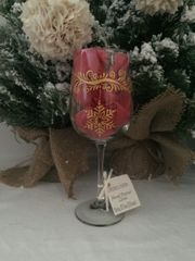 Christmas Glass, Swirls with Ornaments,