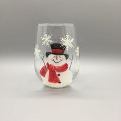 Snowman with Red Scarf and Snowflakes Tumbler