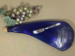 Cobalt Blue, Curved Neck, Recycled Wine Bottle Serving Tray