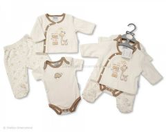 "Tiny Baby ""I am small but want to be tall"" giraffe three piece gift set."