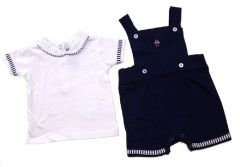 Rock-A-Bye Baby Boy Dungaree shorts set in Navy Blue and White.