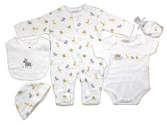 Rock-A-Bye-Baby Unisex Noah's Ark 5 Piece Layette. Available to fit ages Newborn, 0-3mths, 3-6mths.
