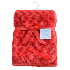 Soft Touch Red Minky Soft and Cuddly Rosebud Wrap with satin trim.