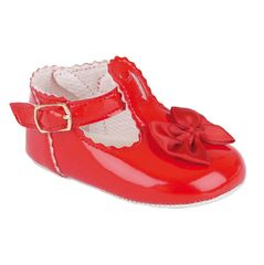 Red patent baby shoe with buckle