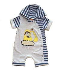 Cheeky Chimp Baby Boy Navy and Grey Romper with Digger applique