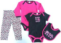 Four piece black and fuchsia outfit