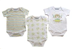 Bonjour Bebe Little Monkey triple pack of body suits. Baby clothes available to fit sizes 0-3, 3-6 or 6-9 months