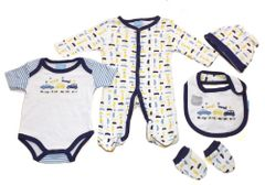 Just too Cute 5 piece layette set with 'Cars' design. Available to fit ages Newborn-6 months