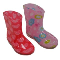 Soft Touch baby girl rain/wellington boots. Choice of two colours Red with hearts and Pink with flowers. To fit ages 15-21 months.