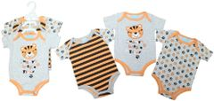 Just Too Cute Triple pack of short sleeve bodysuits in Tiger design - Available to fit Newborn to 12 months