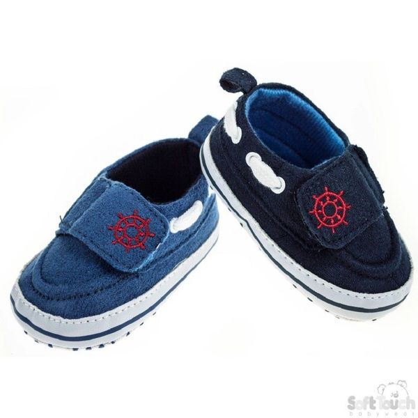 52557439a7c3 Soft Touch Baby Boy Boat Shoes with gripper soles.
