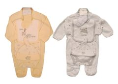 Kris X Kids 5 piece layette gift set in Lemon Giraffe & Elephant or White Sleepy Bear. Available in one size 0-3 months.