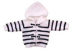 Pex Striped Hooded Cardigan with Toggle fastening White/Navy. Available to fit ages 0-12 months