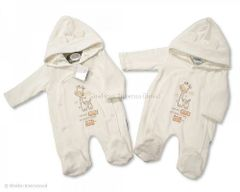 "Tiny Baby Padded All-in-one with hood ""I am only small but want to be tall"" Giraffe embroidery and applique."