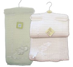 Bee Bo double thickness knitted shawl with bear applique and threaded ribbon detail. Available in White or Cream.