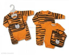 Nursery Time 3 piece cotton baby set with Tiger design.