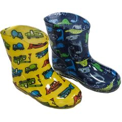 Soft Touch baby rain/wellington boots. Blue with Dinosaurs or Yellow with Trucks. To fit ages 15-24 months (Euro 19-21)