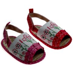 Soft Touch Baby Girl Cute Polka Dot and Flower Embroidery Sandal in Pink or Fuchsia.