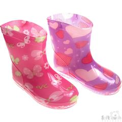 Soft Touch Hearts and Butterflies baby girl rain boots. Available 19-21 (15-24 months)
