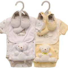 Kris X Kids 6 piece Animal Layette Set in White or Lemon. Available to fit 0-3 months