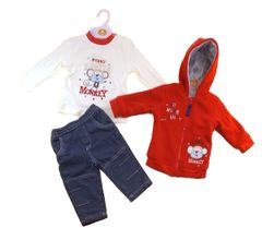 "Three piece ""Little Monkey"" Red and Denim Set. Available for ages 6-18 months."