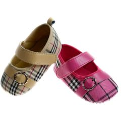 Soft Touch Tartan Shoe with Strap and Buckle Detail.